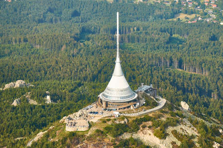 Jested, Czechia - 08/25/2019: Close up aerial view of Jested tower transmitter near Liberec in Czechia. Editorial