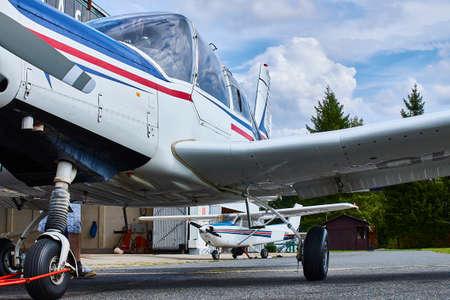 Zbraslavice / Czechia - 08/25/2019: Unusual angle view of Zlin Z-43 four-seat airplane standing on an asphalt runway.  Low-wing monoplane. Editorial