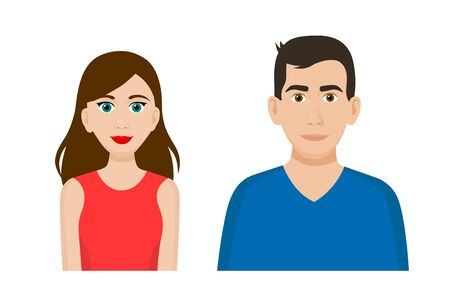 Set of cartoon flat front view vector of a man and a woman