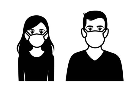 Set of black and white front view vector icons of a man and a woman wearing protective face mask  - covid-19 safety measures, restriction, covering face to prevent spread of the virus