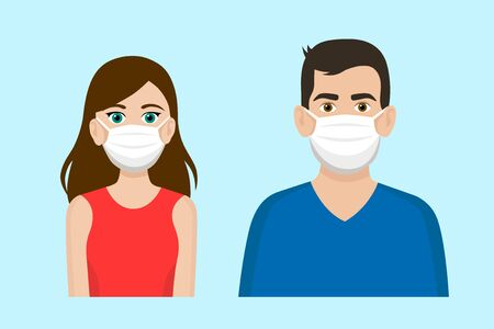 Set of cartoon front view vector of a man and a woman wearing protective face mask - covid-19 safety measures, restriction, covering face to prevent spread of the virus 矢量图像