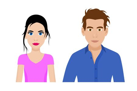 Set of cartoon flat front view vector of a stylish man and a woman Illustration