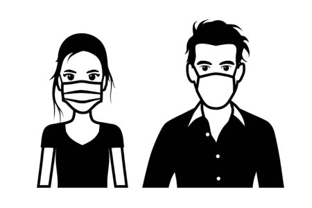 Set of black and white front view vector icons of a man and a woman wearing protective face mask - covid-19 safety measures, restriction, covering face to prevent spread of the virus Illustration