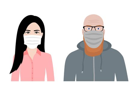 Front view cartoon vector set of a ginger bearded man and an asian woman wearing protective face mask - covid-19 safety measures, restriction, covering face to prevent spread of the virus