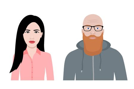 Front view cartoon vector set of a ginger bearded man and an asian woman  Illustration