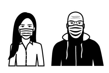 Set of black and white front view vector icons of a bearded man and an asian woman wearing protective face mask - covid-19 safety measures, covering face to prevent spread of the virus Illustration