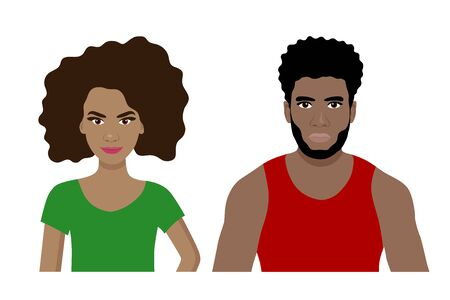 Front view cartoon vector set of an african american man and a woman Illustration