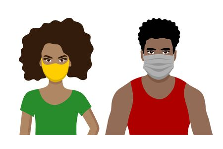 Front view cartoon vector set of an african american man and a woman wearing protective face mask - covid-19 safety measures, restriction, covering face to prevent spread of the virus
