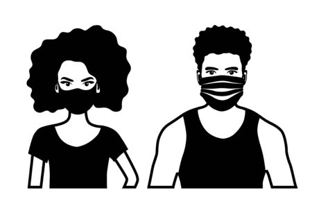 Set of black and white front view vector icons of an african american man and a woman  wearing protective face mask - covid-19 safety measures, covering face to prevent spread of the virus