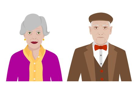 Front view cartoon vector set of a stylish old man and a woman