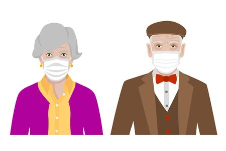 Front view cartoon vector set of a stylish old man and a woman wearing protective face mask - covid-19 safety measures, restriction, covering face to prevent spread of the virus