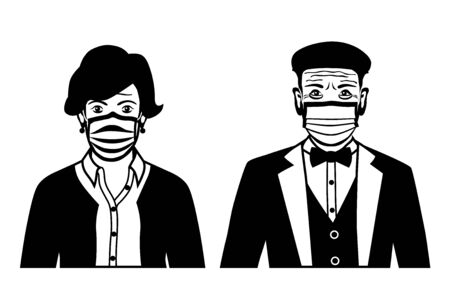 Set of black and white front view vector icons of stylish old man and a woman wearing protective face mask - covid-19 safety measures, restriction, covering face to prevent spread of the virus