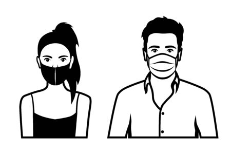 Front view outline vector set of black and white icons of a man and a woman wearing protective face mask - covid-19 safety measures, restriction, covering face to prevent spread of the virus Illustration