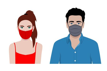 Front view vector set of a man and a woman wearing protective face mask - covid-19 safety measures, restriction, covering face to prevent spread of the virus