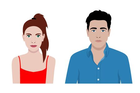 Front view vector set of a stylish man and a woman Illustration