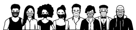 Front view outline vector set of different cartoon people wearing protective face mask - covid-19 safety measures, restriction, covering face to prevent spread of the virus. Illustration
