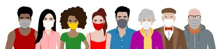 Front view vector set of different cartoon people wearing protective face mask - covid-19 safety measures, restriction, covering face to prevent spread of the virus.