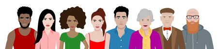 Front view vector set of different cartoon people.