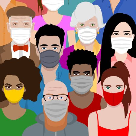 Beautiful background with multicultural cartoon people wearing face masks. Covid 19 safety measures. Protection against coronavirus.