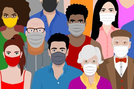 Beautiful background with multicultural cartoon people wearing face masks. Covid 19 safety measures. Protection against coronavirus. Ilustracje wektorowe