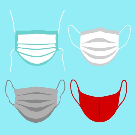 Front view vector set of protective face mask. Coronavirus safety measures.