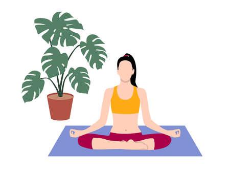 Beautiful simple flat vector of a young slim woman exercising yoga. Lotus pose. Illustration