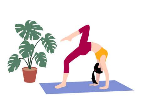 Beautiful simple flat vector of a young slim woman exercising yoga. Bridge pose.