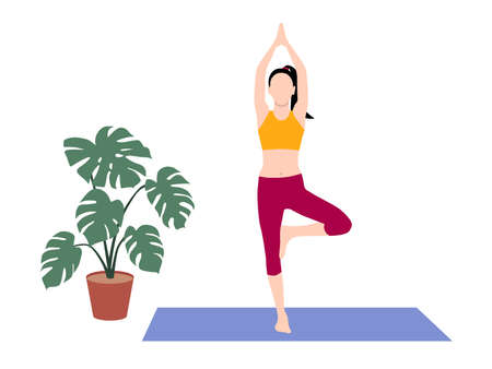 Beautiful simple flat vector of a young slim woman exercising yoga. Tree pose.