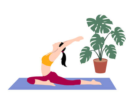 Beautiful simple flat vector of a young slim woman exercising yoga. Pigeon pose.