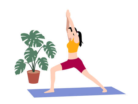 Beautiful simple flat vector of a young slim woman exercising yoga. Warrior 1 pose. Illustration