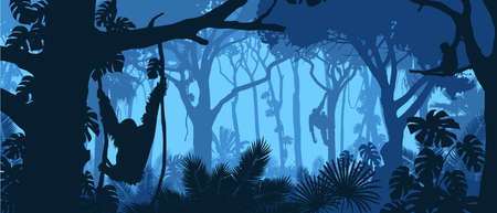 Beautiful vector landscape of a rainforest jungle with orangutan monkeys and lush foliage in blue colors.