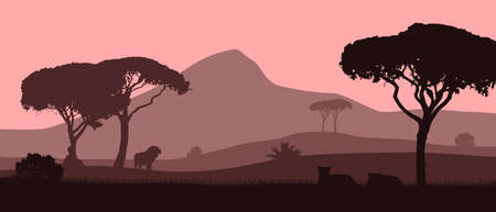Beautiful vector landscape of African savannah with animals in red evening colors.