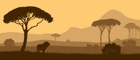 Beautiful vector landscape of African savannah with animals during sunset. Illustration