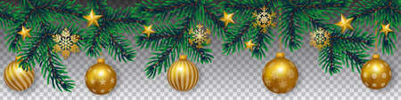 Seamless vector winter coniferous tree branches with needle leaves, golden stars and hanging golden christmas bulbs on transparent background. Illustration