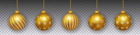 Hanging realistic golden christmas bulbs on transparent background winter vector.
