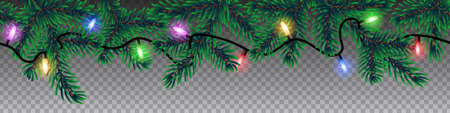 Seamless christmas vector with coniferous tree branches and colorful lights on transparent background.