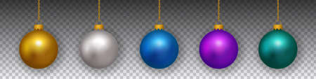 Vector set of hanging realistic colorful golden christmas bulbs on transparent background.