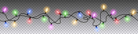 Seamless colorful lights Christmas vector on transparent background. Illustration