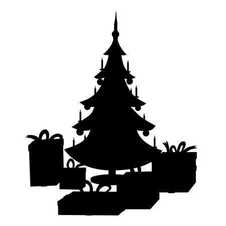 Beautiful Christmas vector silhouette with a christmas tree and gifts.
