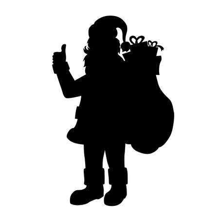 Beautiful Christmas vector silhouette of Santa Claus holding a bag with gifts.