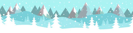 Simple flat vector winter landscape with trees, snow and mountains in the background. Illustration