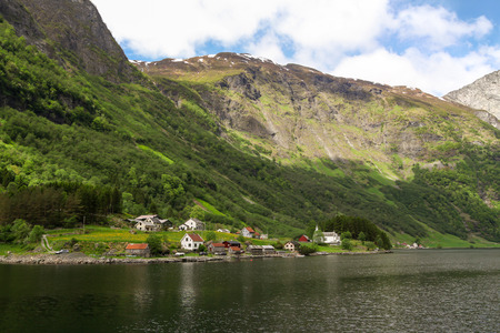 sognefjord: Village is on the fjord Sognefjord