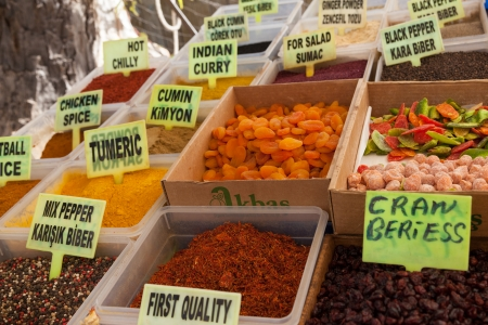 fethiye: Dried fruits and spices in the Turkish market in Fethiye