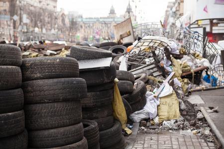 barricades: Barricades at Euromaidan in Kiev, Ukraine