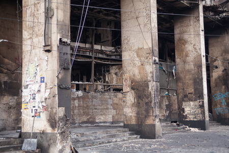 barricades: Burned building near barricades on Euromaidan, Kiev, Ukraine Stock Photo