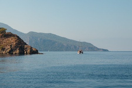 Yacht in the Mediterranean Sea, Turkey photo