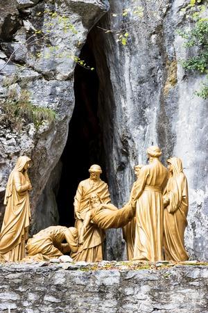 Cross roads in Lourdes, Pyrenees, France. Sculpture compositions