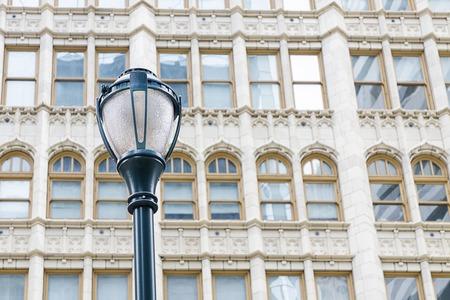 Street light and beautiful windows. Details. Philadelphia, Pennsylvania, USA