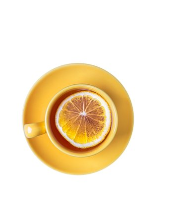 Yellow cup of lemon tea isolated on white background