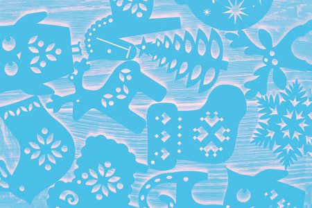 Winter pattern. Christmas decorations, abstract background, texture. Ultra blue bright color. Christmas background